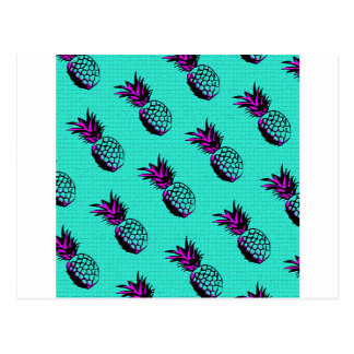 mosaic turquoise blue pineapple pattern postcard