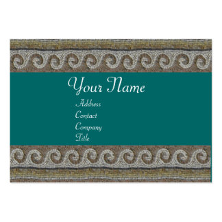 MOSAIC WAVES , light grey brown blue green Large Business Card