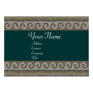 MOSAIC WAVES , light grey brown green Large Business Card