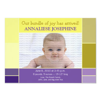 Mosaic Yellow Designer Baby Birth Announcement