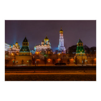 Moscow Kremlin cathedrals at night Poster