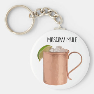Moscow Mule Copper Mug Low Poly Geometric Design Basic Round Button Keychain