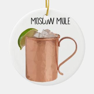 Moscow Mule Copper Mug Low Poly Geometric Design Ceramic Ornament