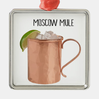 Moscow Mule Copper Mug Low Poly Geometric Design Metal Ornament