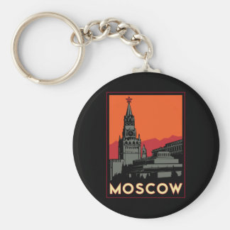 moscow russia kremlin art deco retro travel keychain