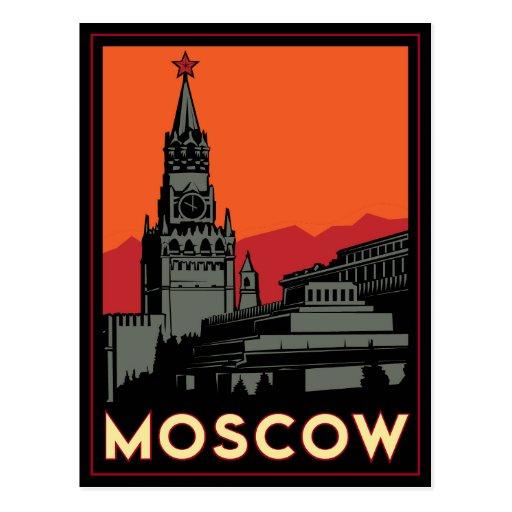 moscow russia kremlin art deco retro travel postcard