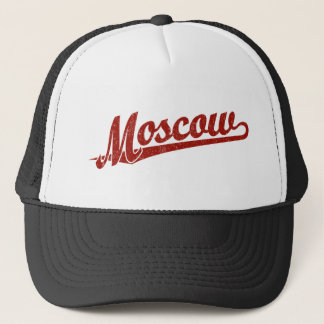 Moscow script logo in red distressed trucker hat