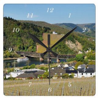 Moselle bridge with Bullay Square Wall Clock