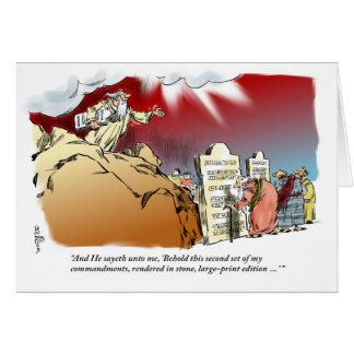 Moses and Large Print Commandments birthday card