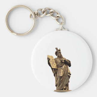 moses and ten commandments golden keychain