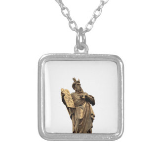 moses and ten commandments golden silver plated necklace