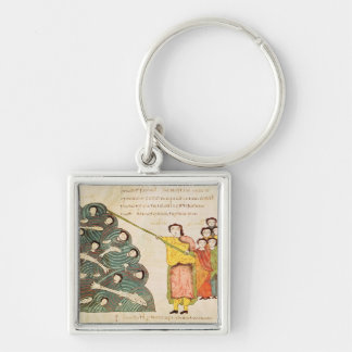 Moses closing the Red Sea on the Egyptians Silver-Colored Square Keychain