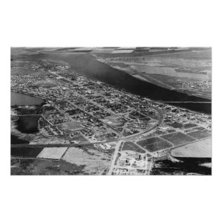Moses Lake, WA Aerial View of Town Photograph Poster