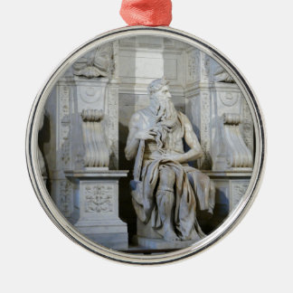 Moses (Michelangelo) Silver-Colored Round Ornament