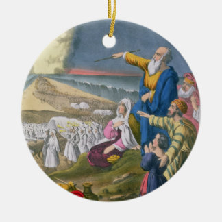 Moses Parting the Red Sea, from a bible printed by Ceramic Ornament