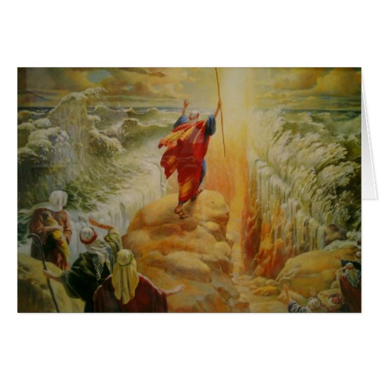 Moses parting the red sea greeting card. card