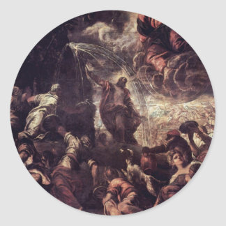Moses Striking Water From The Rock By Tintoretto J Classic Round Sticker