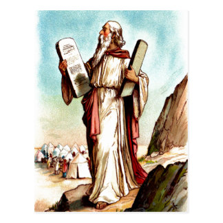 Moses with the tables of the law postcard