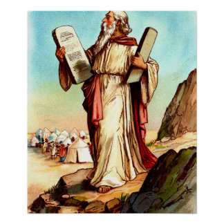 Moses with the tables of the law poster