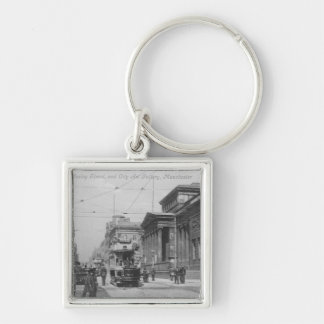 Mosley Street Silver-Colored Square Keychain