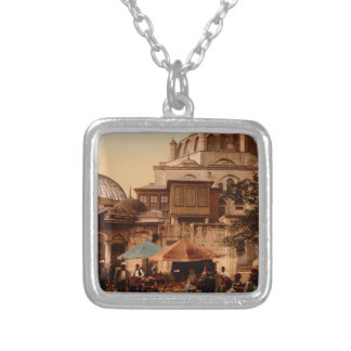Mosque and street, Scutari, Constantinople, Turkey Silver Plated Necklace