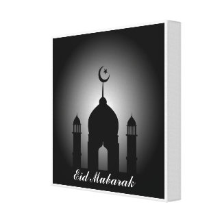 Mosque dome and minaret silhouette canvas print
