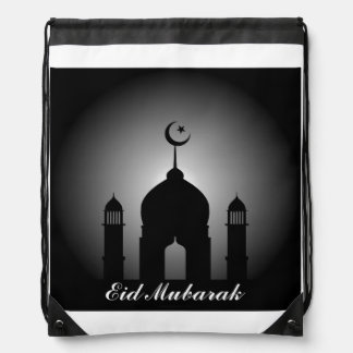 Mosque dome and minaret silhouette drawstring bag