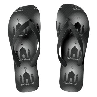 Mosque dome and minaret silhouette flip flops