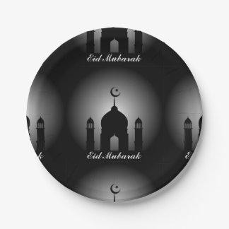 Mosque dome and minaret silhouette paper plate
