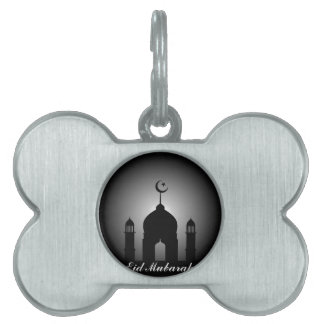 Mosque dome and minaret silhouette pet tag