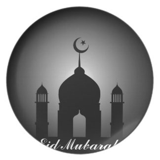 Mosque dome and minaret silhouette plate