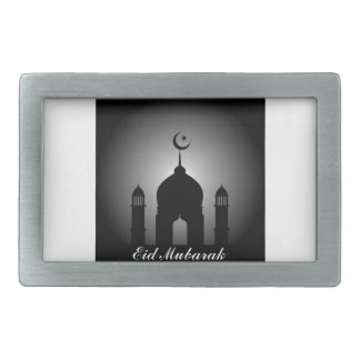 Mosque dome and minaret silhouette rectangular belt buckle