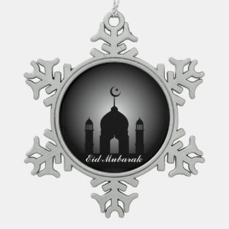Mosque dome and minaret silhouette snowflake pewter christmas ornament