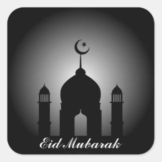 Mosque dome and minaret silhouette square sticker