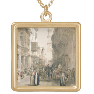 """Mosque El Mooristan, Cairo, from """"Egypt and Nubia"""" Square Pendant Necklace"""
