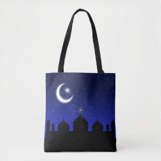 Mosque Silhouette at Night All-Over-Print Tote Bag