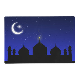 Mosque Silhouette at Night - Laminated Placemat