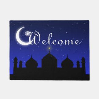 Mosque Silhouette at Night Welcome Door Mat