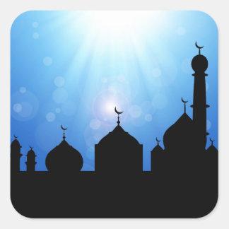 Mosque Silhouette with Sunburst - Sticker