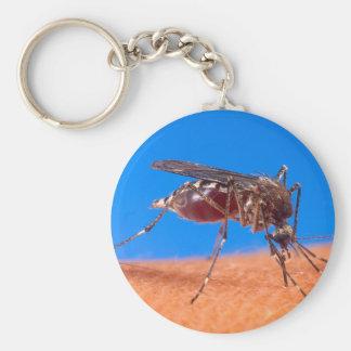 Mosquito Biting Basic Round Button Keychain