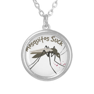 Mosquitos Suck Silver Plated Necklace