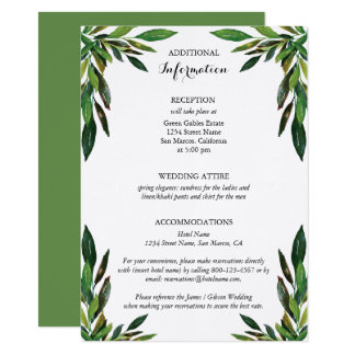 Moss Botanical Leaves Wedding Additional Card