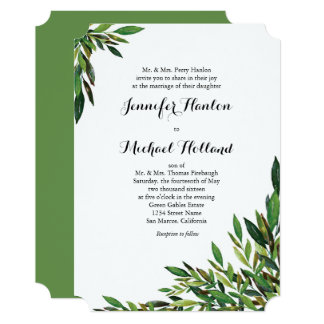 Moss Botanical Leaves Wedding Invitations