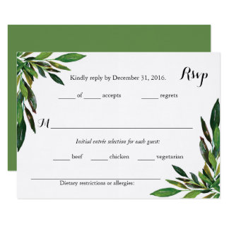 Moss Botanical Leaves Wedding RSVP Cards