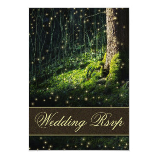 Moss Enchanted Forest Firefly Wedding RSVP Cards