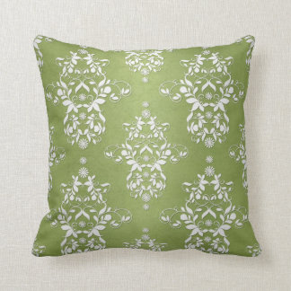 Moss Green and White Floral Damask Throw Pillow