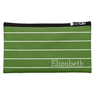 Moss Green and White Stripe Personalized Makeup Bag