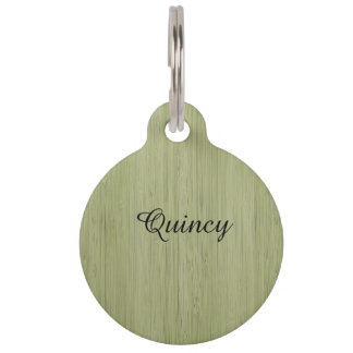 Moss Green Bamboo Wood Grain Look Pet ID Tags