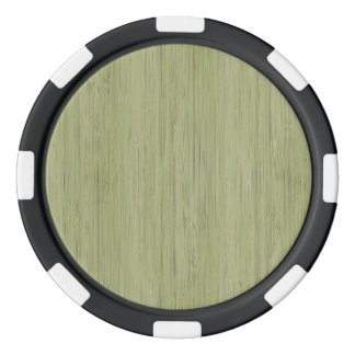 Moss Green Bamboo Wood Grain Look Poker Chips