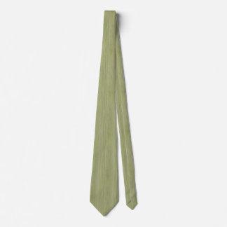 Moss Green Bamboo Wood Grain Look Tie